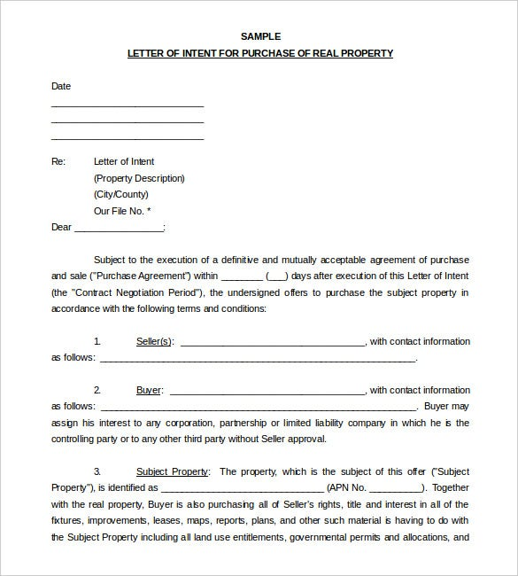 Sample Letter Of Intent To Purchase Word Format Download