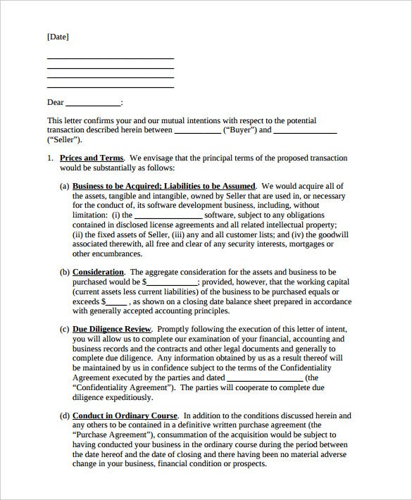 10 Letter of Intent Templates Free Sample Example Format – Sample Letter of Intent to Purchase a Business