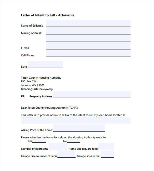 9 letter of intent templates free sample example format for Letter of intent to purchase property template