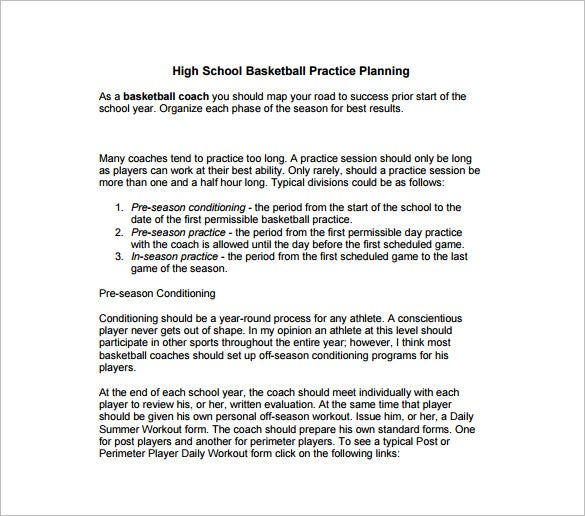Basketball Practice Plan Template - 3 Free Word, Pdf, Excel ...