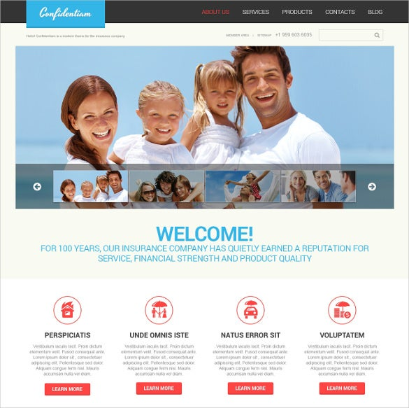 insurance free template  26  Insurance Website Themes