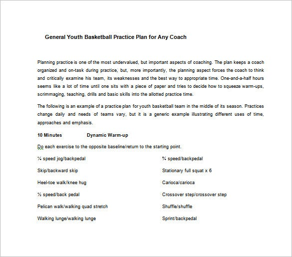 general youth basketball practice plan for any coach free word download