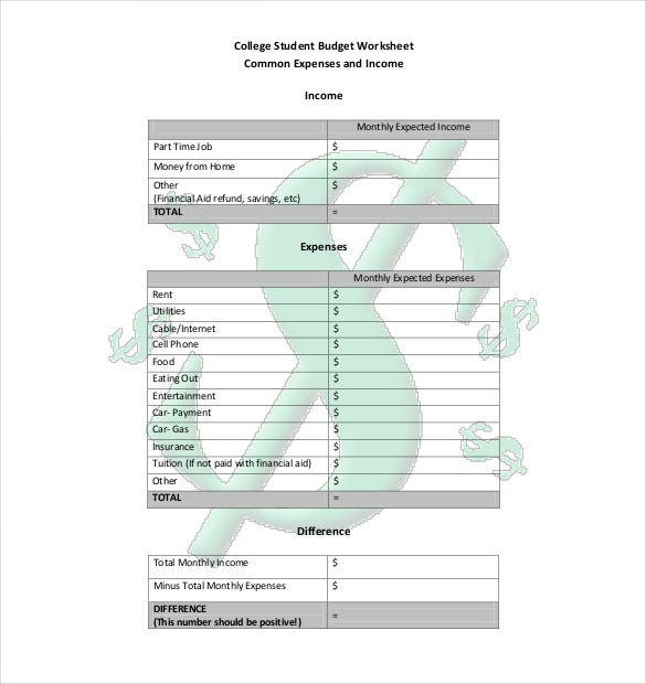 10 college budget templates free sample example format download