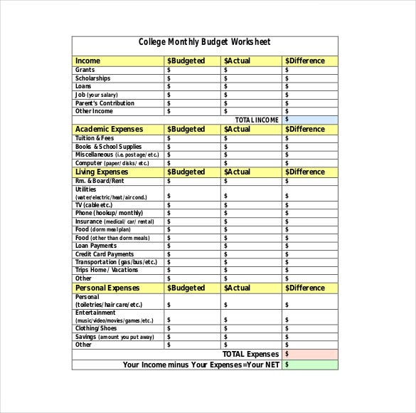 college budget worksheet