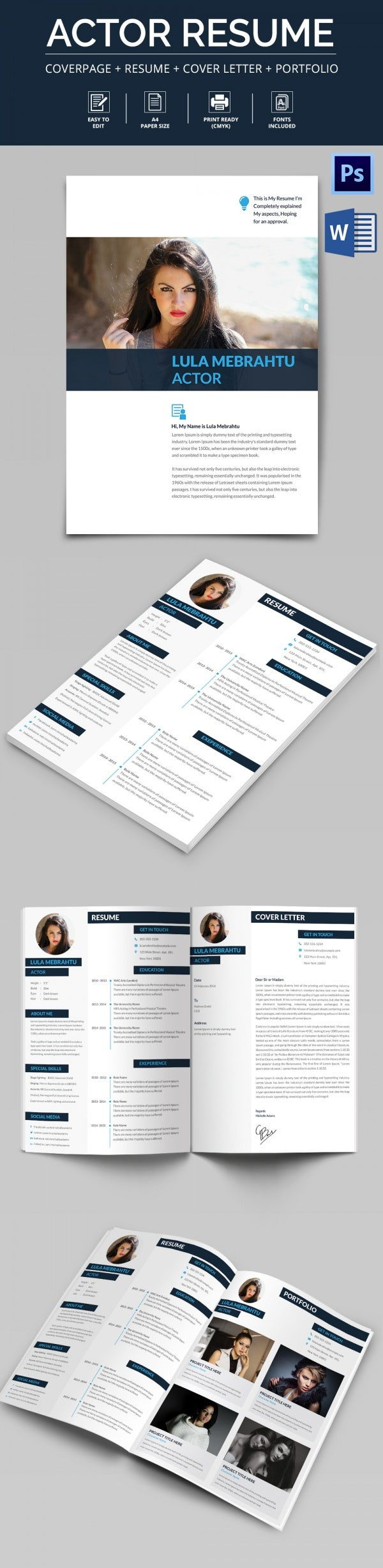 Actor Resume Cover Letter Portfolio Template Free Premium