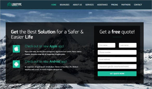 insurance bootstrap landing page website theme 1