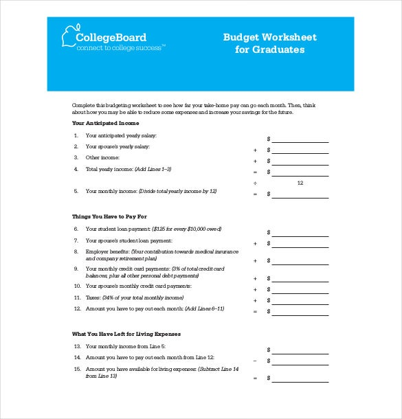 budget worksheet for graduates