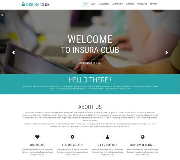 one page insurance company website theme