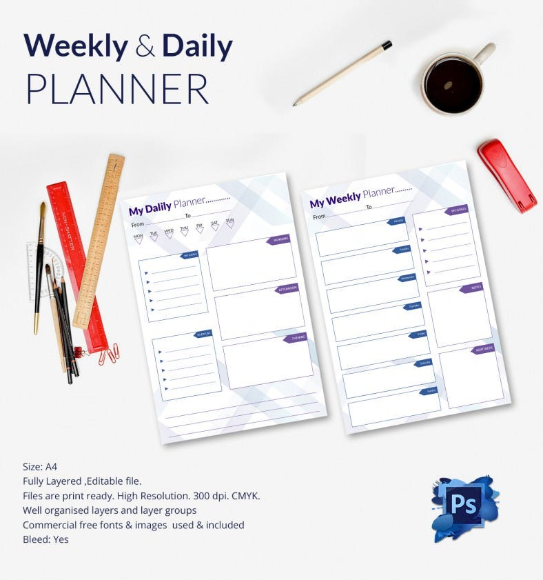 A4 Size Daily & Weekly Planner Template