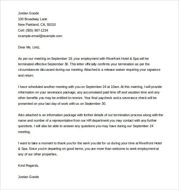 employee termination letter template word doc download