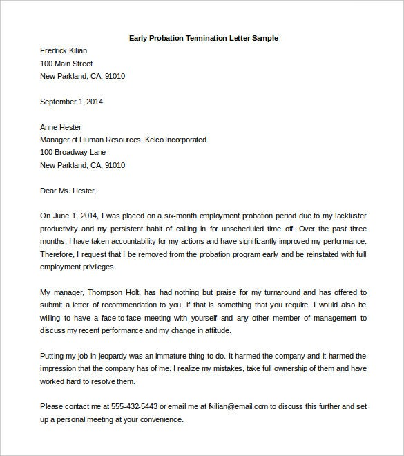 download early probation termination letter template sample