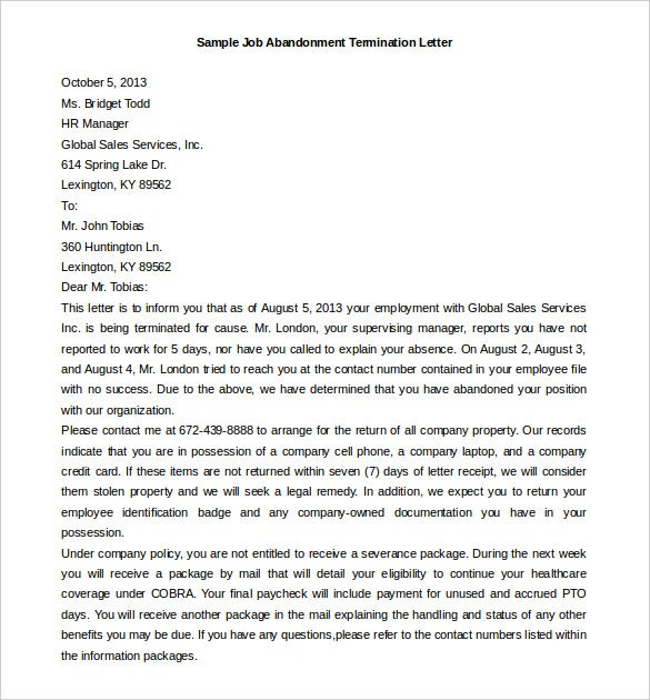 editable termination letter template for job abandonment