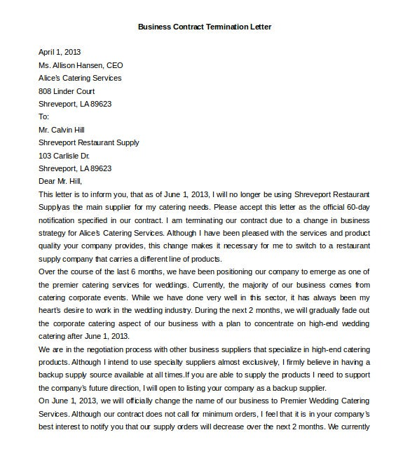 free download business contract termination letter template
