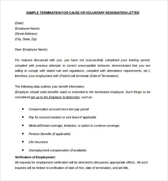 voluntary termination letter template free example download