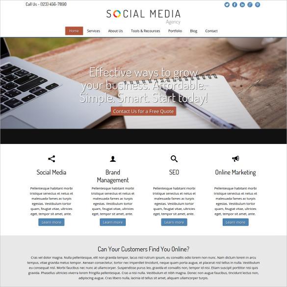 premium social media agency wordpress theme