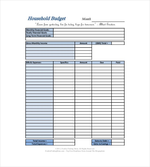 Monthly Household Budget Template  Template