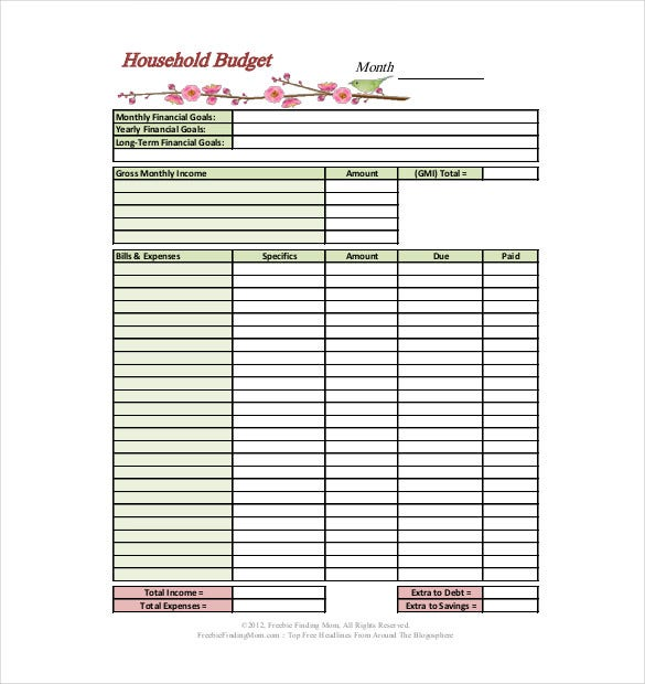 Sample Household Budget  CityEsporaCo