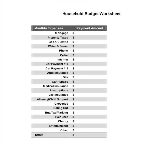 10 Household Budget Templates Free Sample Example Format – Household Budget Worksheet