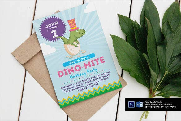 free dinosaur birthday party invitation template