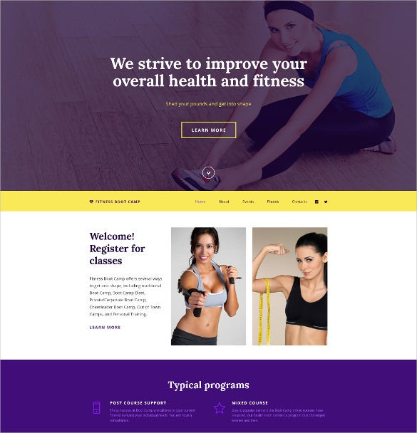 fitness boot camp website template