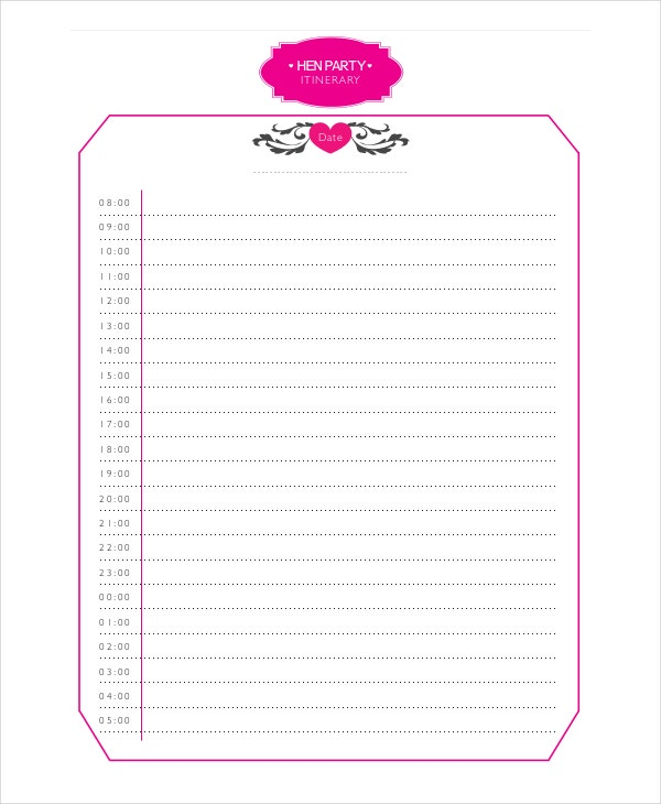 Hen Party Itinerary Template