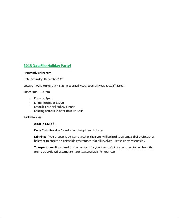 Holiday Party Itinerary Template