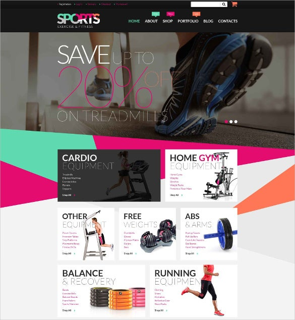 fitness equipment woocommerce website theme