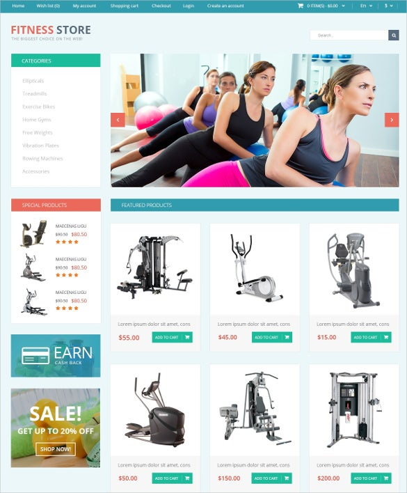 fitness for life opencart website template