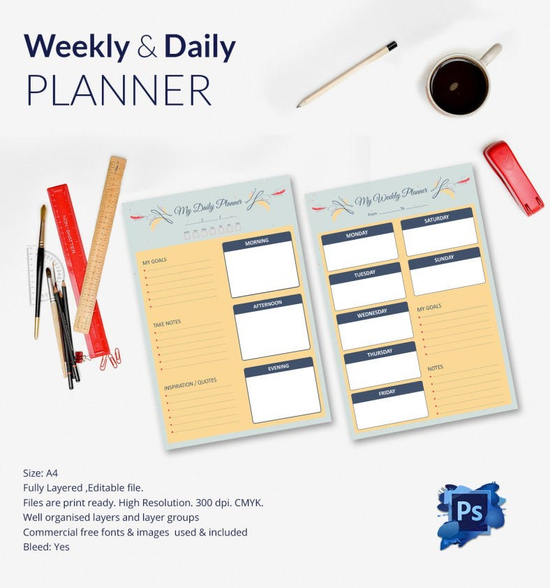 Print Ready Weekly & Daily Planner Template