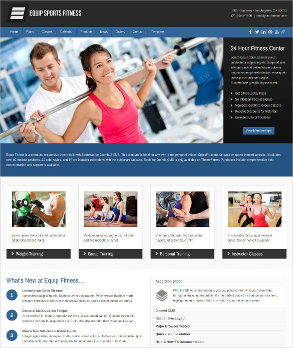 equip joomla sports fitness website theme