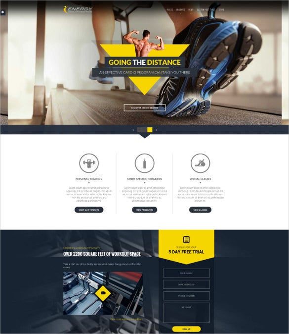 responsive wordpress fitness website template