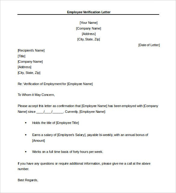 10+ Letter of Employment Templates – Free Sample Example Format ...