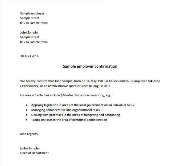 Great Employment Confirmation Letter From Employer Sample PDF