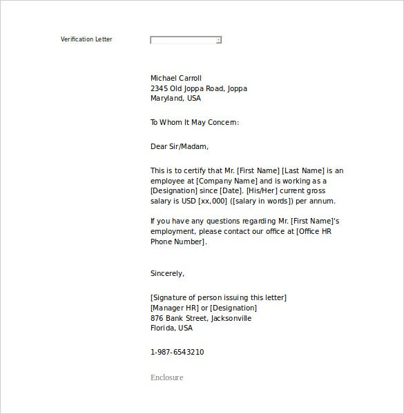 proof of employment letter sample word printable - Employment Proof Letter