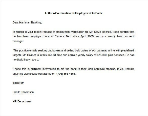 Letter Of Employment Template For Bank Sample Free Download