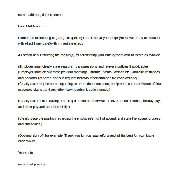 Free Download Termination Letter Of Employment Template Sample