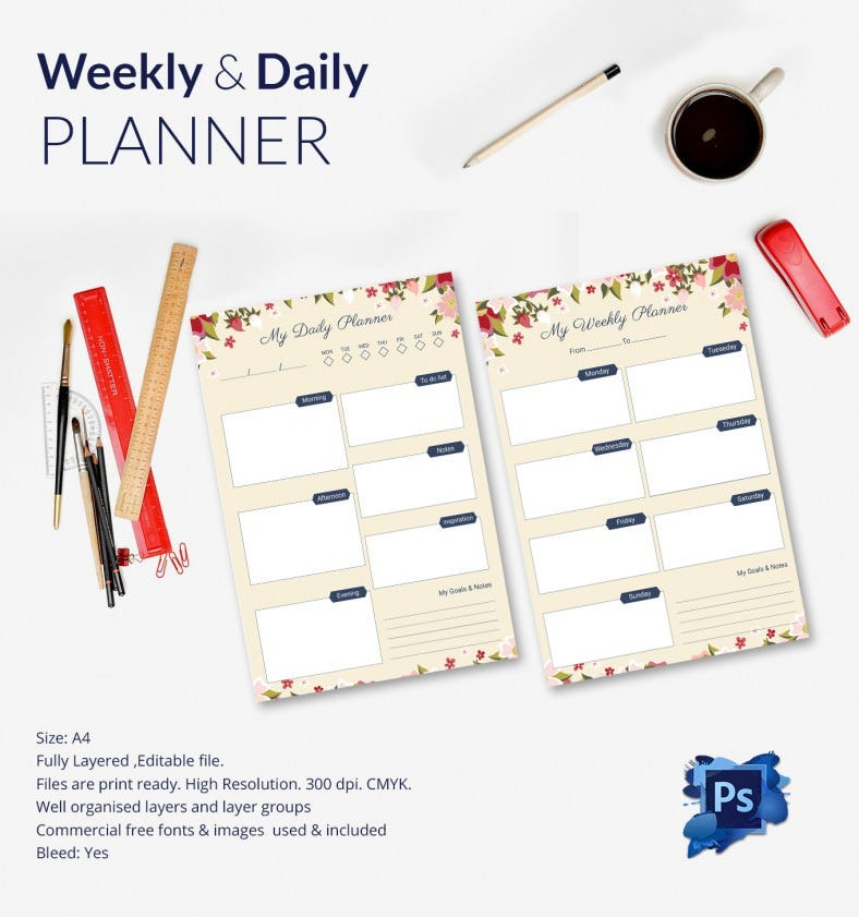 Simple Weekly & Daily Planner Design