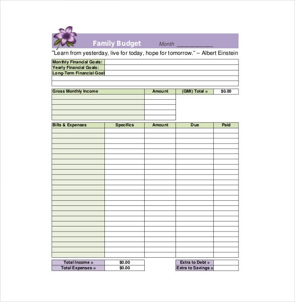 printable family budget template