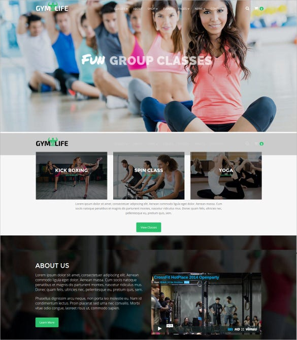 modern fitness clubs wordpress website theme