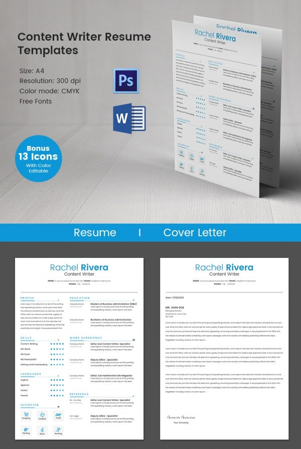 Content Writer Resume Template  Content Writer Resume
