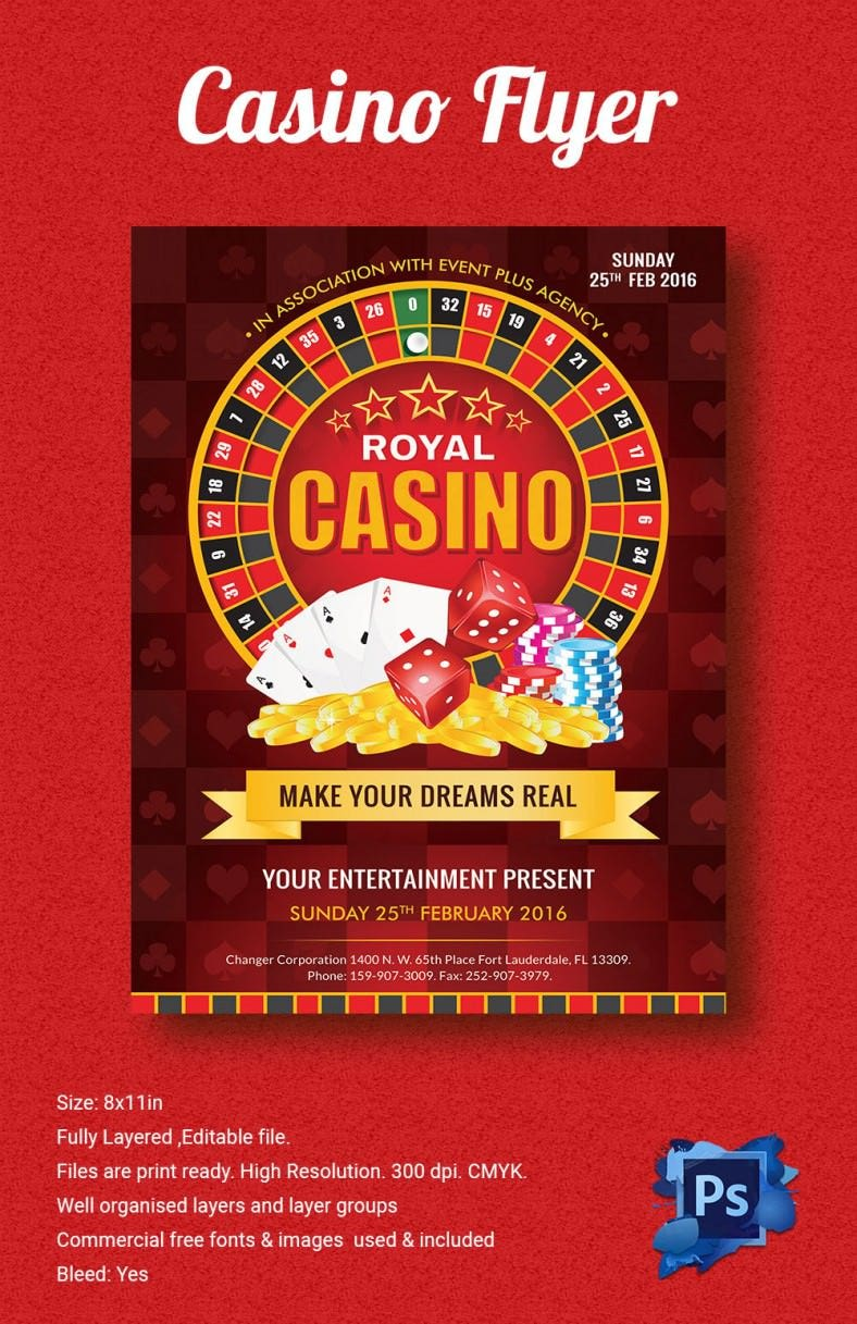 royal casino flyer template 788x1217