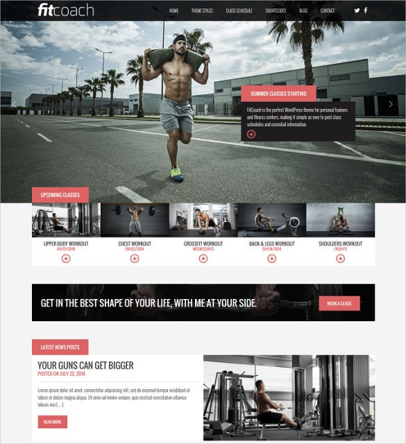 free perfect fitness wordpress webiste template