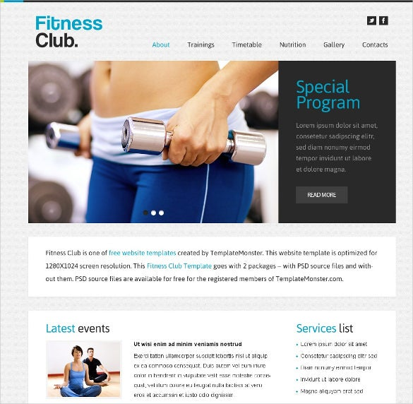 free fitness club website theme