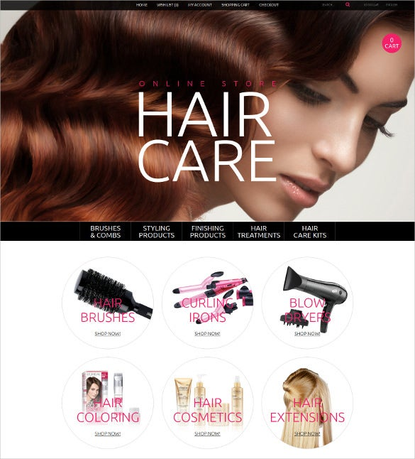 stylish hair care opencart website template