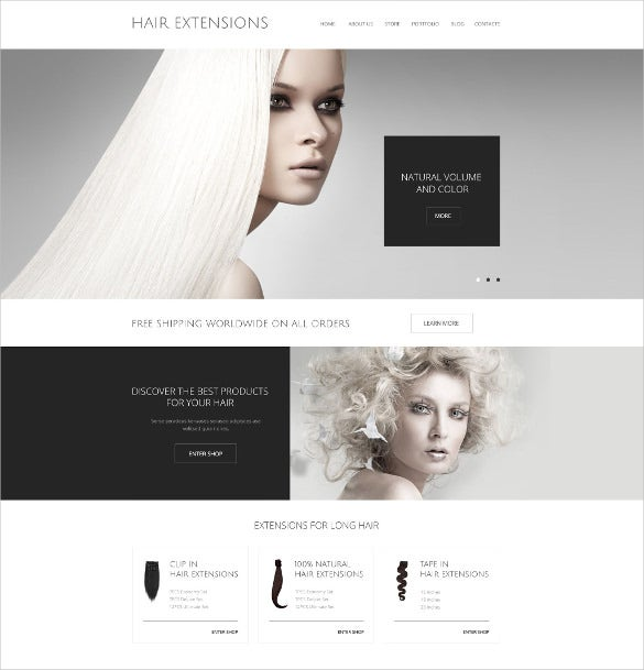 hair extensions salon woocommerce website theme