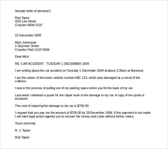 Accident Letter Template  Letter Template