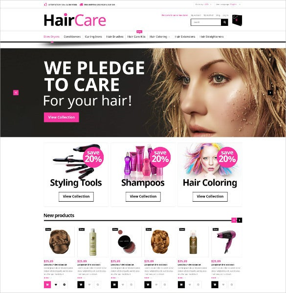 hair care salon magento website template