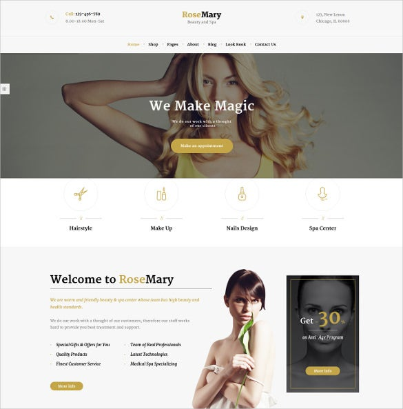 hair beauty salon wordpress website template