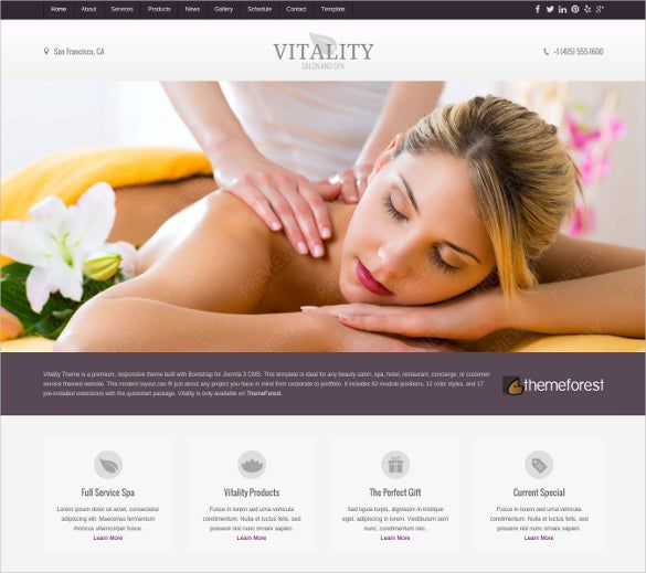 vitality joomla health beauty salon theme