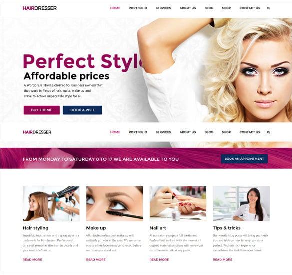 hair dresser hair salon wordpress website theme
